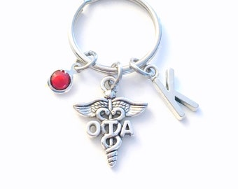 Occupational Therapy Assistant Keychain, Gift for OTA Key Chain, Therapist Keyring Initial present women her him men birthday caduceus man