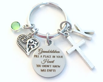 Gift for Grandmother Keychain, Grandchildren fill a place in your heart you didn't know was empty Key Chain, Initial Birthstone Mom Present