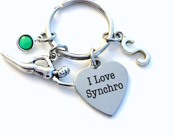 Synchronized Swimming Keychain, I Love Synchro Key Chain, Swimmer Keyring, Swimming Coach Key Chain Gift for birthday present, Teen Girl her