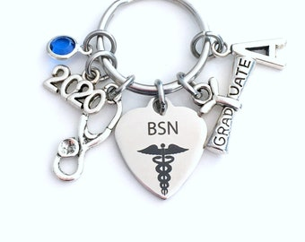 Graduation Gift for BSN Keychain, 2020 Bachelor of Science in Nursing Key chain Nurse Keyring her women letter initial Scroll stethoscope