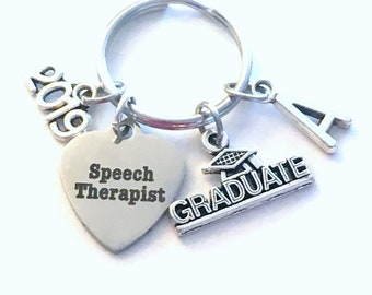 Speech Therapist Graduation Present, 2019 SLP Therapy Keychain, Gift for Language Pathologist, Key Chain Grad Keyring Initial women