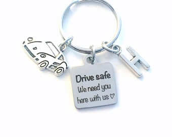 Father's day gift for husband, Drive safe we need you here with us Keychain, Daddy Present for Son Key Chain him Boy Dad Race Car Keyring