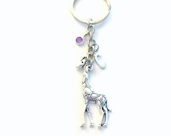 Personalized Giraffe Keychain, Large Giraffe Key Chain, Animal Keyring Jewelry, Personalised Initial Birthstone birthday present Gift chain