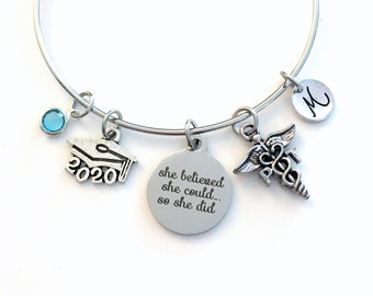 Gift for PT Graduation Present, 2020 Physical Therapist Bracelet, Charm Bangle Therapy, She Believed She could Silver Bangle Jewelry