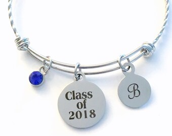 Class of 2018 Graduation Bracelet, Twisted Stainless Steel Charm Bangle, Student Grad Silver Jewelry, Gift for High School Teen girl 2019