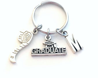 Graduation Gift for Seamstress Keychain, Fashion Key Chain, Interior Designer Keyring Grad Coworker Initial letter Construction Worker Dad
