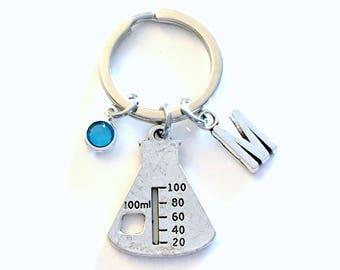 Gift for Chemistry Teacher Keychain, Beaker Key Chain, Erlenmeyer Keyring, Chemist Jewelry Lab Technician Initial Birthstone present women