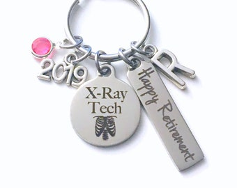 XRay Tech Retirement Gift Key Chain, 2019 X-Ray Technician Keychain for Women Men Retire, Radiologist Key Chain Keyring him her Personalized