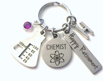 Retirement Gift for Chemist Keychain, Medical Science Keyring, Researcher Retire Key Chain, Present him her women Men Beaker Charm Chem