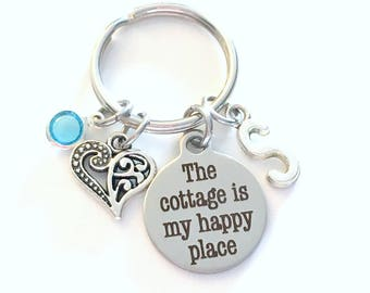 The cottage is my happy place Keychain, Cabin Keyring, Gift for Mothers Day Present Grandmother Key Chain, Birthstone Initial Birthday heart