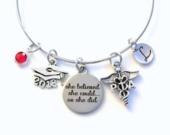 Gift for PTA Graduation Present, 2018 Physical Therapist Assistant Bracelet, Charm Bangle Therapy, She Believed she could so she did Jewelry