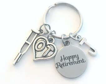 OT Keychain Retirement Key Chain, Occupational Therapist Keychain, Heart Caduceus, therapy Keyring crutch charm Initial letter her him women