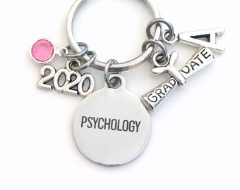 Graduation Gift for Psychology Keychain, 2020 Psychologist Psych Major Key Chain, Initial Birthstone Grad Present Keyring women her