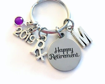 Retirement Gift for Pharmacy Technician Keychain, 2019 Pharm Pharmacist Researcher, Rx Key chain with letter Initial present women her him