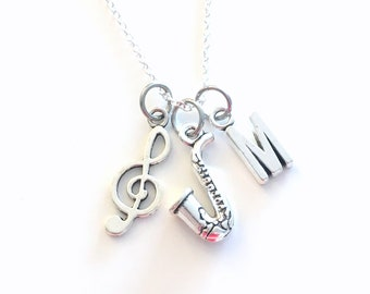 Gift for Jazz Musician Player, Saxophone Necklace, Sax Jewelry, Personalized Treble Clef Music Charm initial birthstone birthday present him