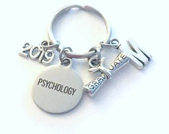 Psychology Graduation Gift, 2019 Psych Student Keychain for Psychologist Grad Key Chain Doctor Keyring Graduate initial letter man 2020