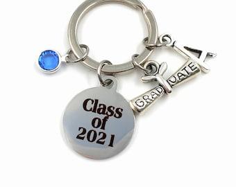 Class of 2021 KeyChain / Graduation Key Chain / Grad Gift for Graduate Keyring / Graduation Scroll Present / High School College / Him Her