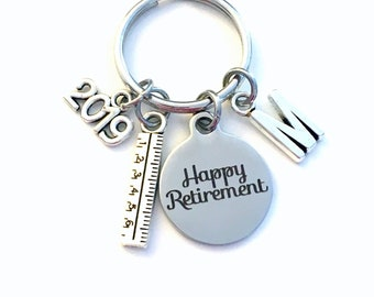 Retirement Gift for Teacher Keychain,  2019 Architecture Dad Draft Ruler Secretary Key chain Keyring Retire Coworker Initial letter Math him