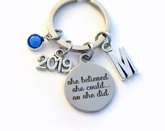 2019 Gift for Job Promotion Keychain, New Career Key Chain, She believed she could so she did can Stainless steel Canadian Seller Shop Etsy