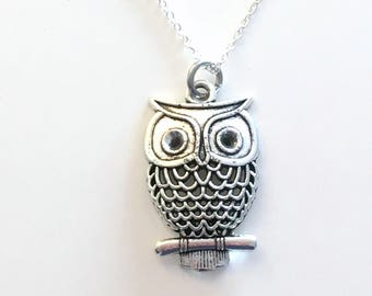 Owl Necklace, Filigree Owl Jewelry, Large Bird Gift for Teacher Animal birthday present Long short 925 Sterling Silver Chain Pendant Girl 13