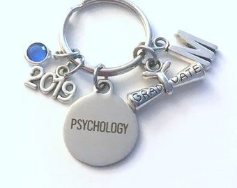 Graduation Gift for Psychology Keychain, 2019 Psychologist Psych Major Key Chain, Initial Birthstone Grad Present Keyring women her