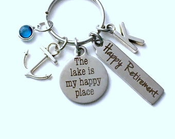The lake is my happy place Keychain, Retirement Gift for Father Key Chain, Marine Keyring, him her women Men Coworker Co Worker Anchor