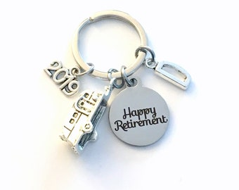 Retirement Gift for Men Keychain, RV Travel Key chain, Camper Keyring, Camping Retire Initial letter present women him coworker boss trailer