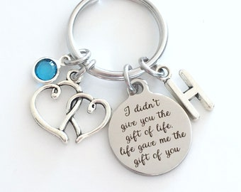 Adoption Keychain, Gift for Gotcha Day Key Chain, I didn't give you the gift of life, life gave me the gift of you Present Jewelry Mom Dad