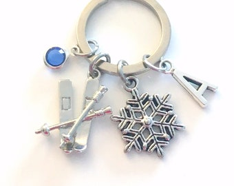 Skiing KeyChain, Snowflake Keyring, Skier Key chain, Ski Pole Downhill Cross Country, Personalize Initial Birthstone present Christmas her