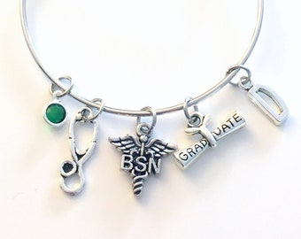 Graduation Gift for BSN Nurse Bracelet Jewelry, Bachelor of Science in Nursing Charm Bangle, Silver Medical Caduceus Stethoscope birthstone
