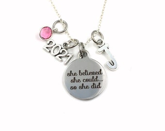 Graduation Necklace / 2021 She Believed She could so she did Jewelry / Grad Gift for Achievement / Accomplishment Present / Sterling Silver