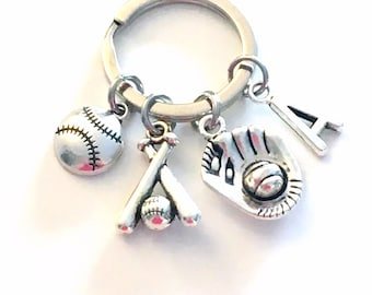 Christmas Gift For Teen Boy / Girl Baseball Keychain, Silver Softball Key Chain, Bat Glove Ball Charm Keyring, Jewelry Teenager Teenage him
