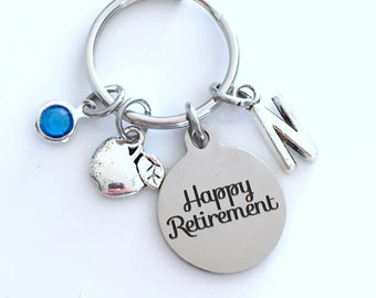 Retirement Gift for Food Teacher Keychain, Dietitian Nutritionist Apple Key chain Keyring Retire Coworker Initial letter Home Economics Lab