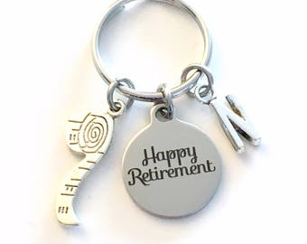 Retirement Gift for her keychain, Seamstress 2018 him Dad Boss Key chain Construction Worker Keyring Retire Coworker Initial letter men sew