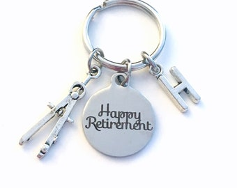 Retirement Gift for Architect Keychain, 2020 Architecture Draft Compass Math Him Key chain Keyring Retire Coworker Initial letter men 2021