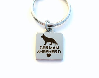 German Shepherd Key Chain, Breeder Keychain, Gift for Dog Mom Keyring, Doggie Puppy Jewelry, Silver Initial Shepard, Mother's Father's Day