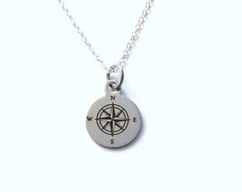 Silver Compass Necklace, Going away Present for Son, Gift for Graduation Jewelry, Graduate Grad him Nephew 925 Silver Chain Canadian Seller