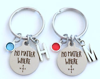 Going away Gift for Son or Daughter Keychain, Set of 1 2 3 4 5 6 No Matter Where Key Chain, GirlFriend Best Friend BFF Keyring Matching Pair