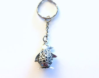 Penguin KeyChain, Filigree Large Key Chain, Animal Keyring Jewelry Personalised Initial Birthstone birthday present Gift for Best Friend her