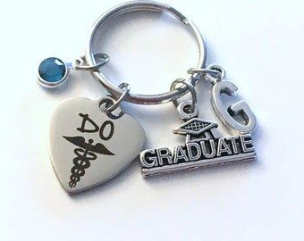 Graduation Present for Osteopath Key Chain, Doctor of Osteopathic Medicine Keychain Women her Grad Keyring 2018 Initial him her men Graduate