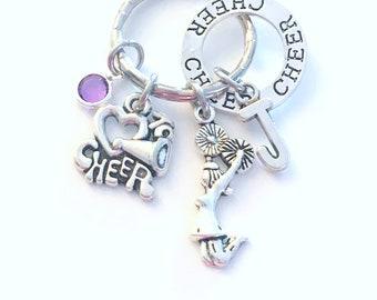 Gift for Cheerleader Keychain, Cheerleading Key Chain, I love to Cheer Keyring, Megaphone Jewelry initial birthstone present circle charm
