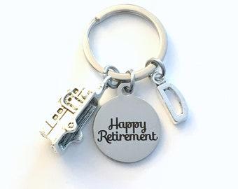 Retirement Gift for Men Keychain, RV Travel Key chain, Camper Keyring, Camping Retire Initial letter present women him coworker boss trailer