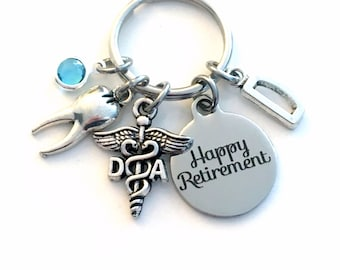 Retirement Gift for DA Keychain, Caduceus Dental Assistant Key chain Keyring Retire Coworker Initial letter her him Dentist tooth teeth