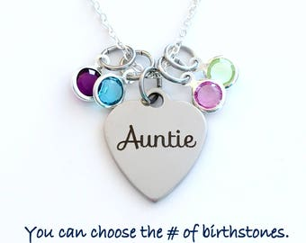 Auntie Necklace, Gift from Niece Nephew Jewelry with multiple birthstones, 2 3 4 5 6 7 8 from kids Aunt Sister Silver Charm pendant long her