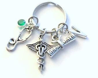 Veterinarian Technician Graduation Gift for Vet Tech Keychain, Animal Doctor Key Chain, Grad Present Stethoscope Keyring Initial Birthstone