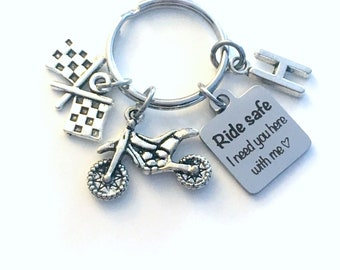 Ride safe I need you here with me Keychain, Racing Key Chain for Him or Her, Son Daughter keyring, Dirt Bike Dirtbike, Motocross Day Present