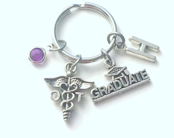 Graduation Gift for OT Key Chain, Occupational Therapist Keychain, charm Therapy Keyring birthstone Initial letter for her women men