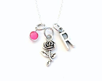 Rose Necklace, Flower Jewelry, Silver Floral Charm, Gift for Bridesmaid Present, Bridal party, minimalist daughter 925 sterling chain Girl