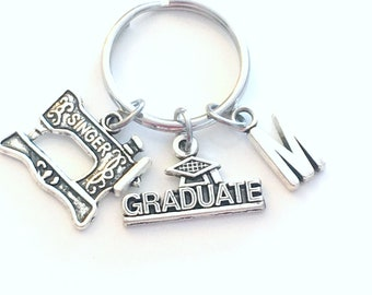 Graduation Gift for her, Seamstress Keychain, Graduate Key chain Sewing Keyring Grad Coworker Initial letter him Women Woman Sew