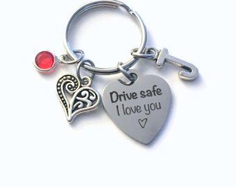 Birthday gift for her, Drive safe I love you Keychain, Present for girlfriend Key Chain, Wife Daughter Girl Mom Mother Niece Keyring son him